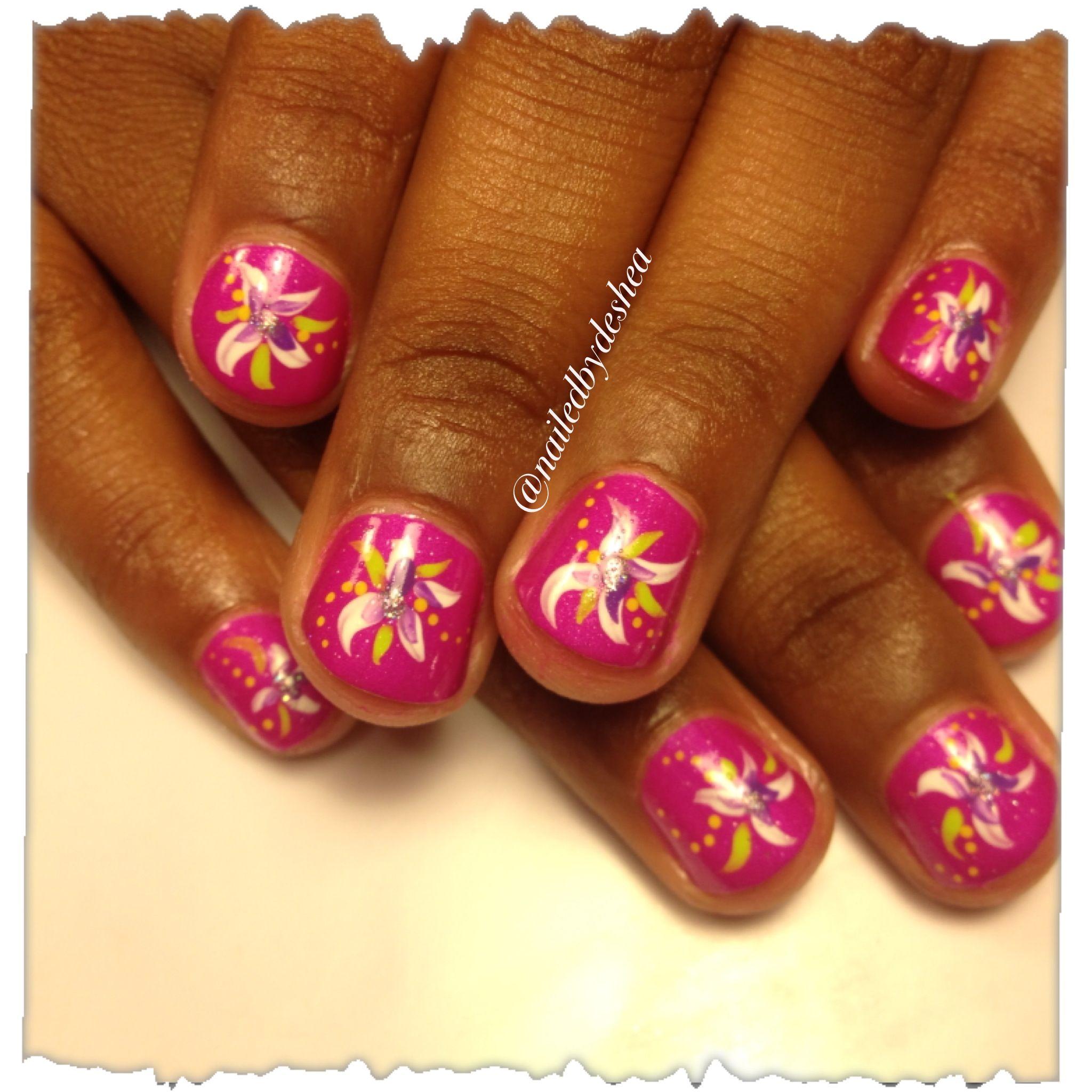 Tropical Flowers Little Girl Nailart Nail Designs Pinterest