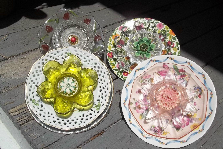 garden plate flowers crafts pinterest
