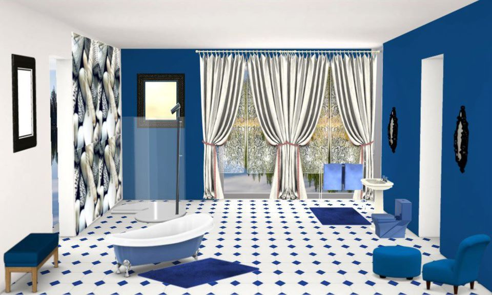 royal blue bathroom our place
