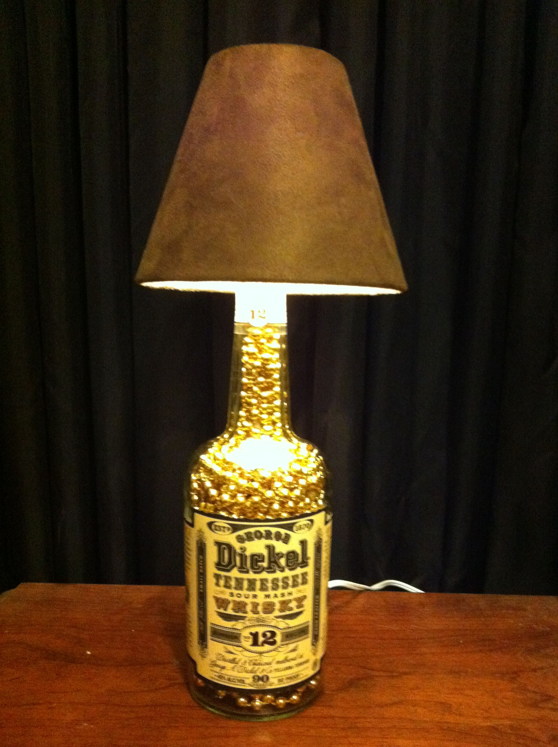 Lamp made with liquor bottle i made these pinterest for Lamps made out of wine bottles