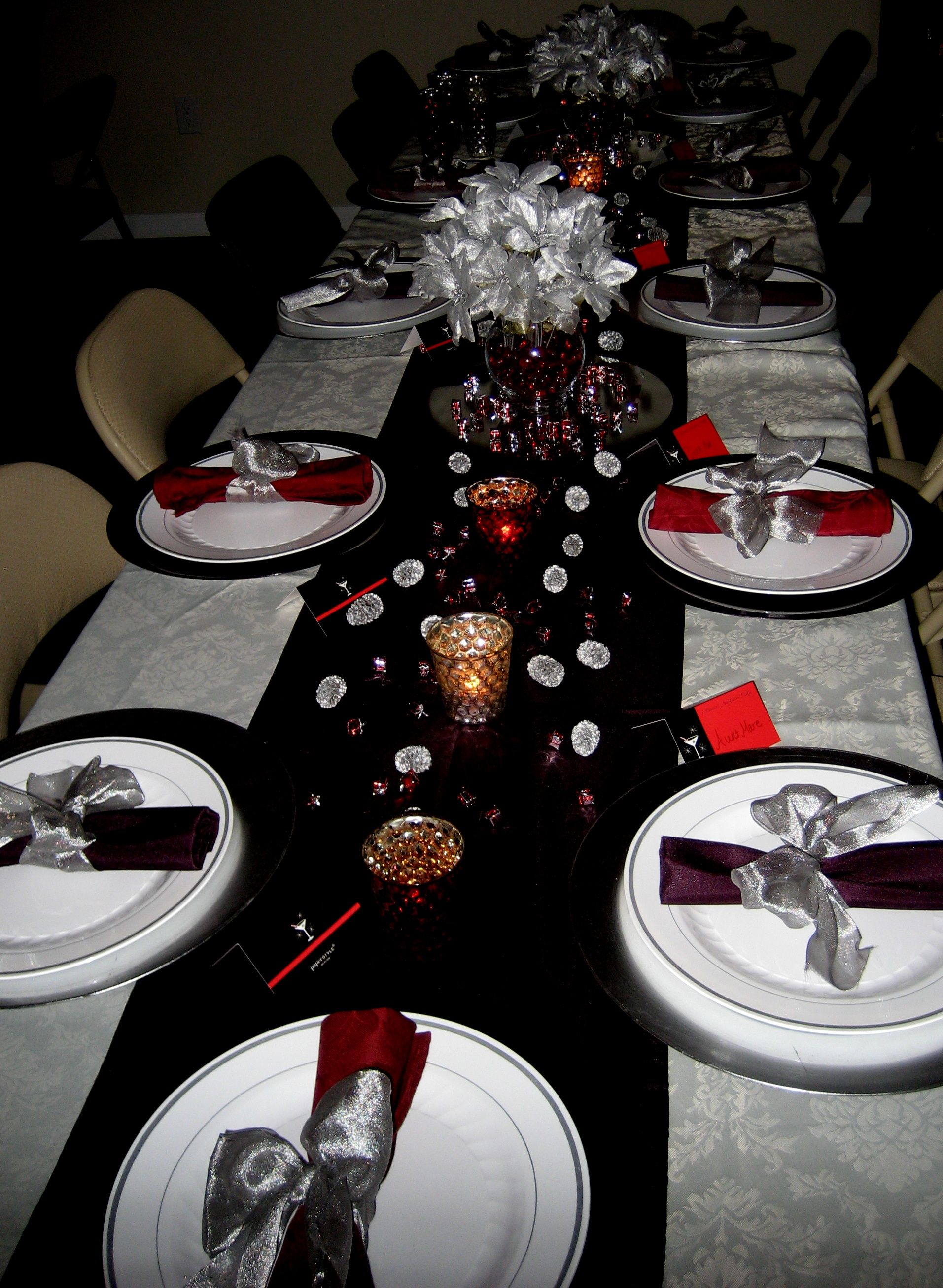 Dinner Table Set Up Annual Christmas Party Pinterest