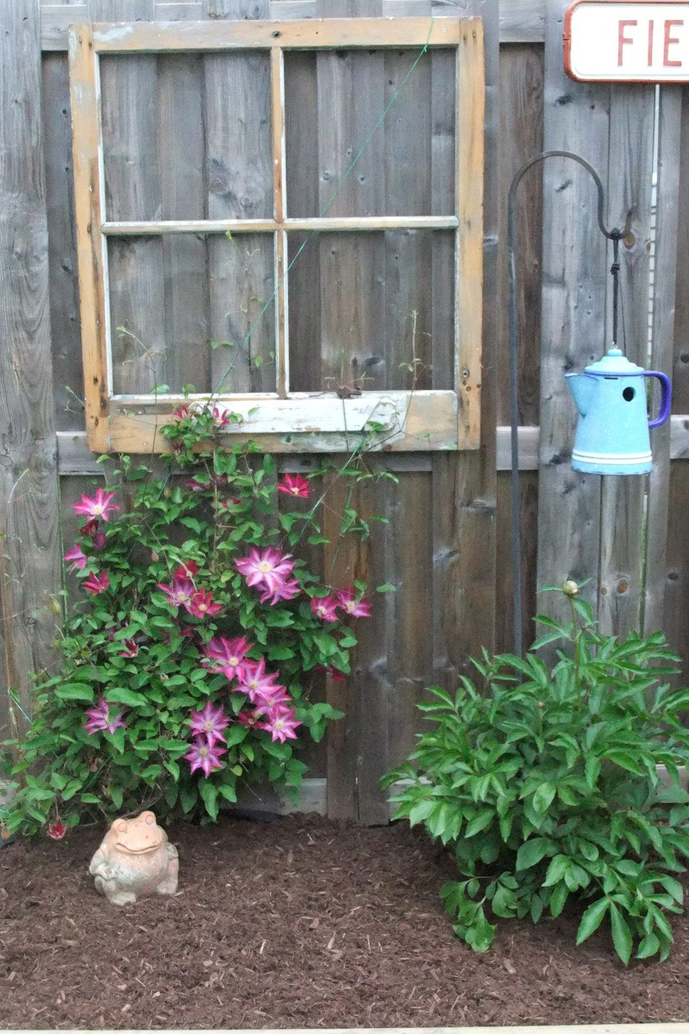 Old window use and repurposed bird house garden decor for Outdoor decorating with old windows