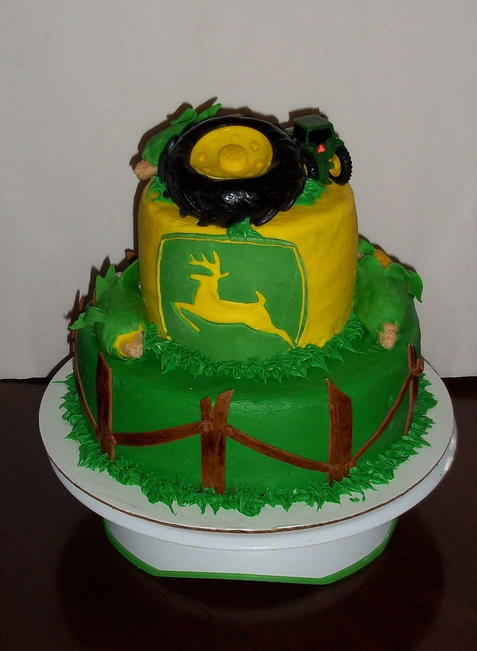 2 tier JOHN DEERE birthday cake Cakes!! Pinterest