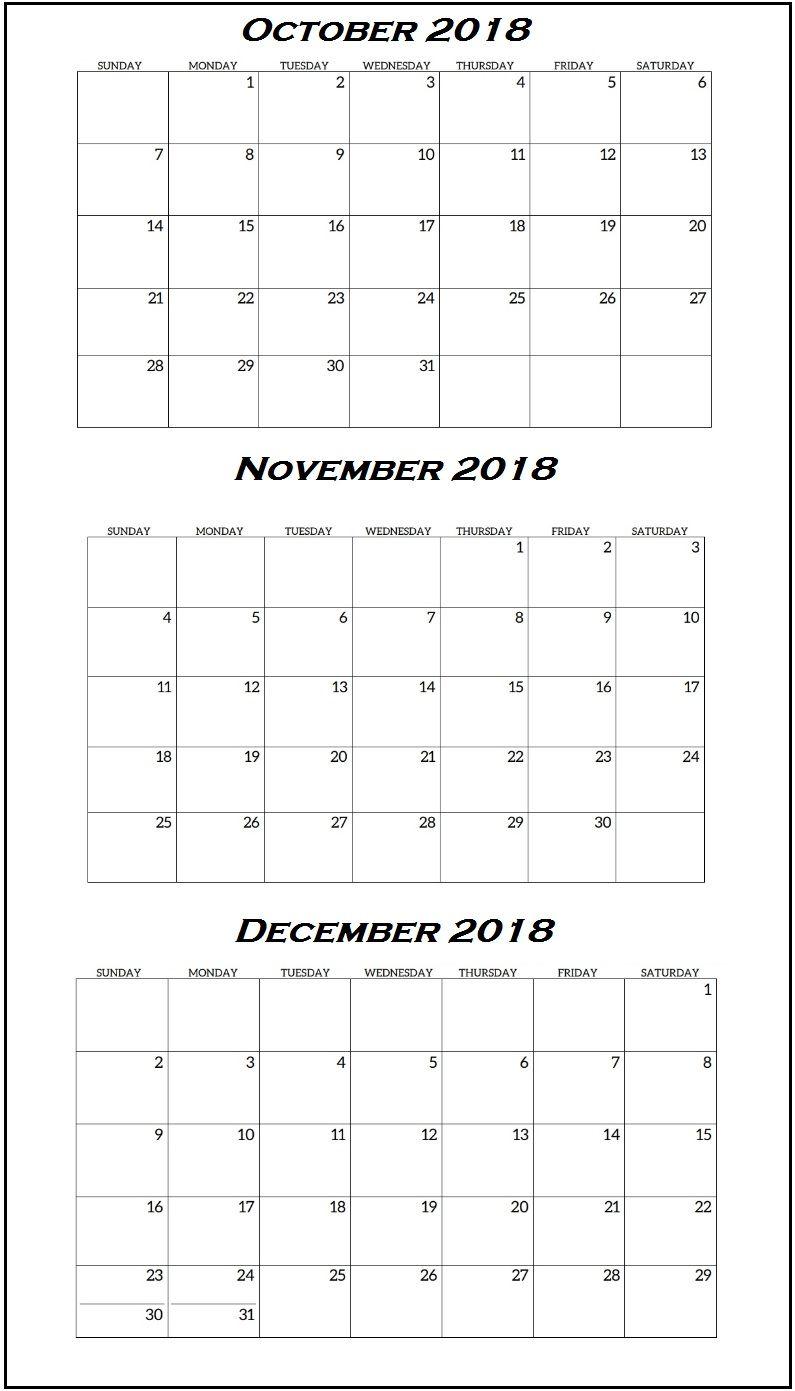 October 2018 Calendar Page