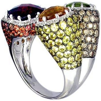 18K White Gold Ring set with Multi Color Stone, Brown Diamond and Diamond