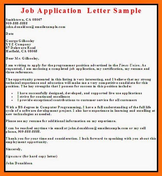 cover letter sample job not advertised
