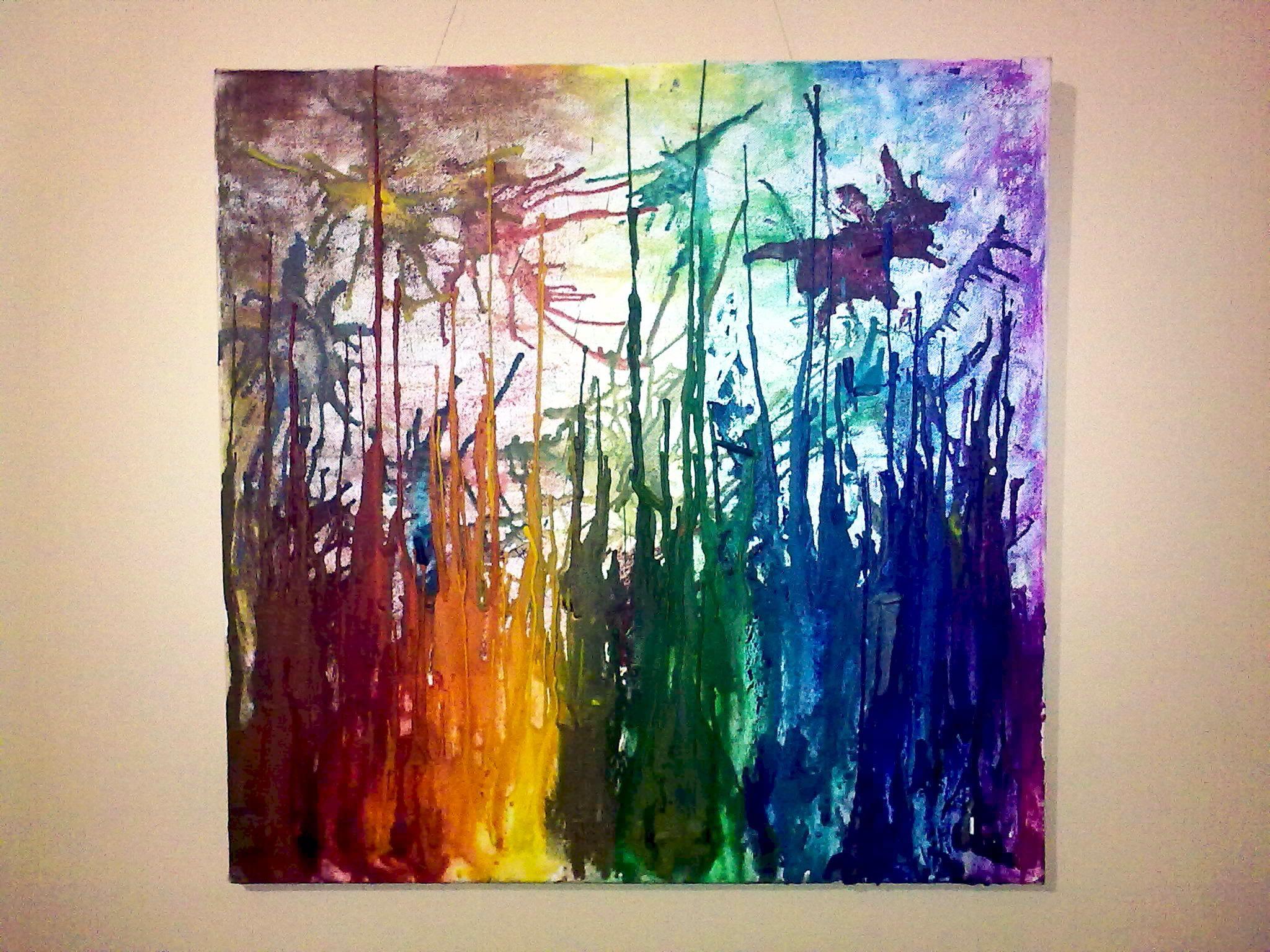 Melting crayon on canvas diy pinterest for Crayon diy canvas