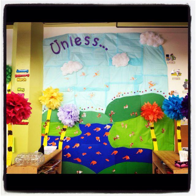 Lorax classroom mural dr seuss preschool ideas for Classroom mural