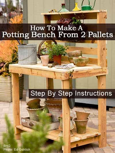 Make Your Own Potting Bench from 2 Pallets!!  LOVE this idea for repurposing pallets – Ken is going to be delighted!!  lol!