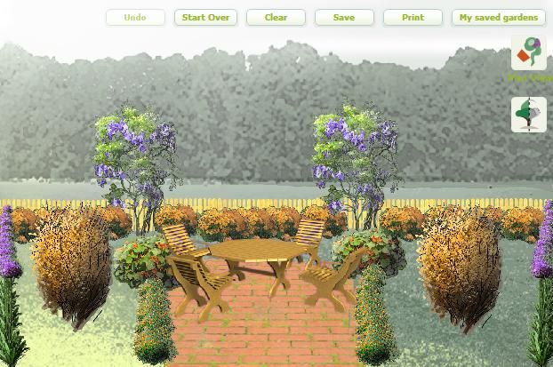 An orange-inspired garden design with purple accents.