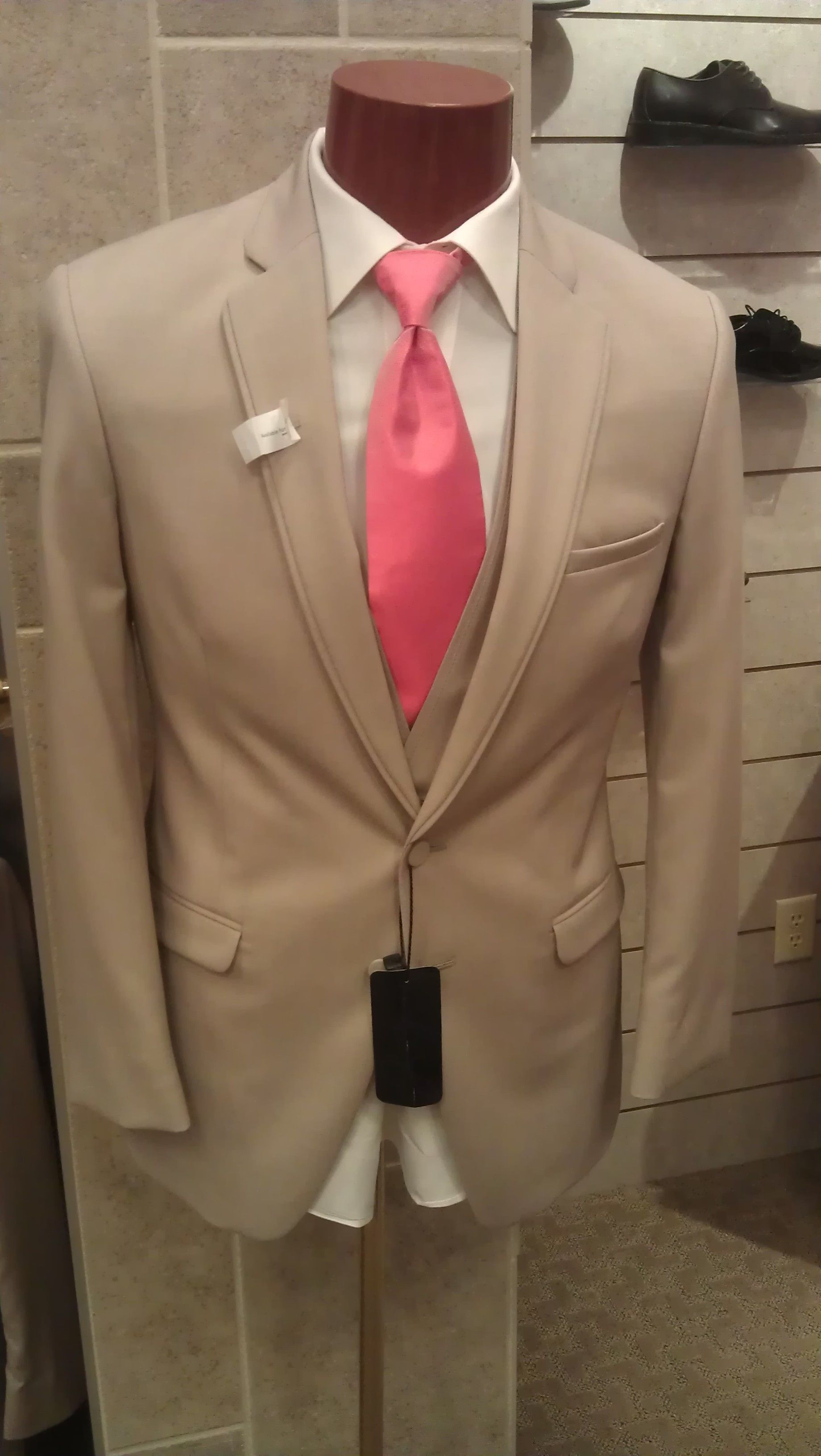 Tan Tux With Coral Tie Love