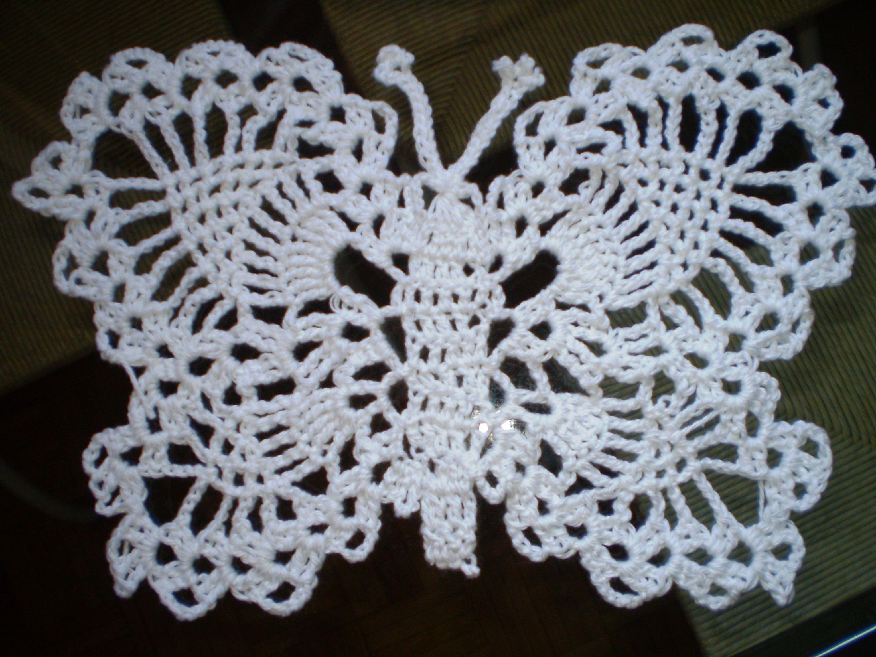 crocheted butterfly Crochet Pinterest