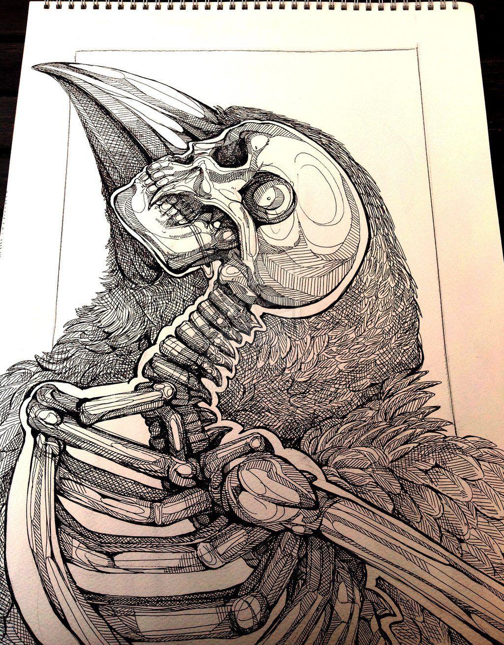 Скелет ворона эскиз тату