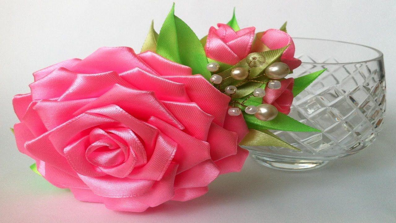 Цветы из лент своими руками мастер класс в ютубе 912