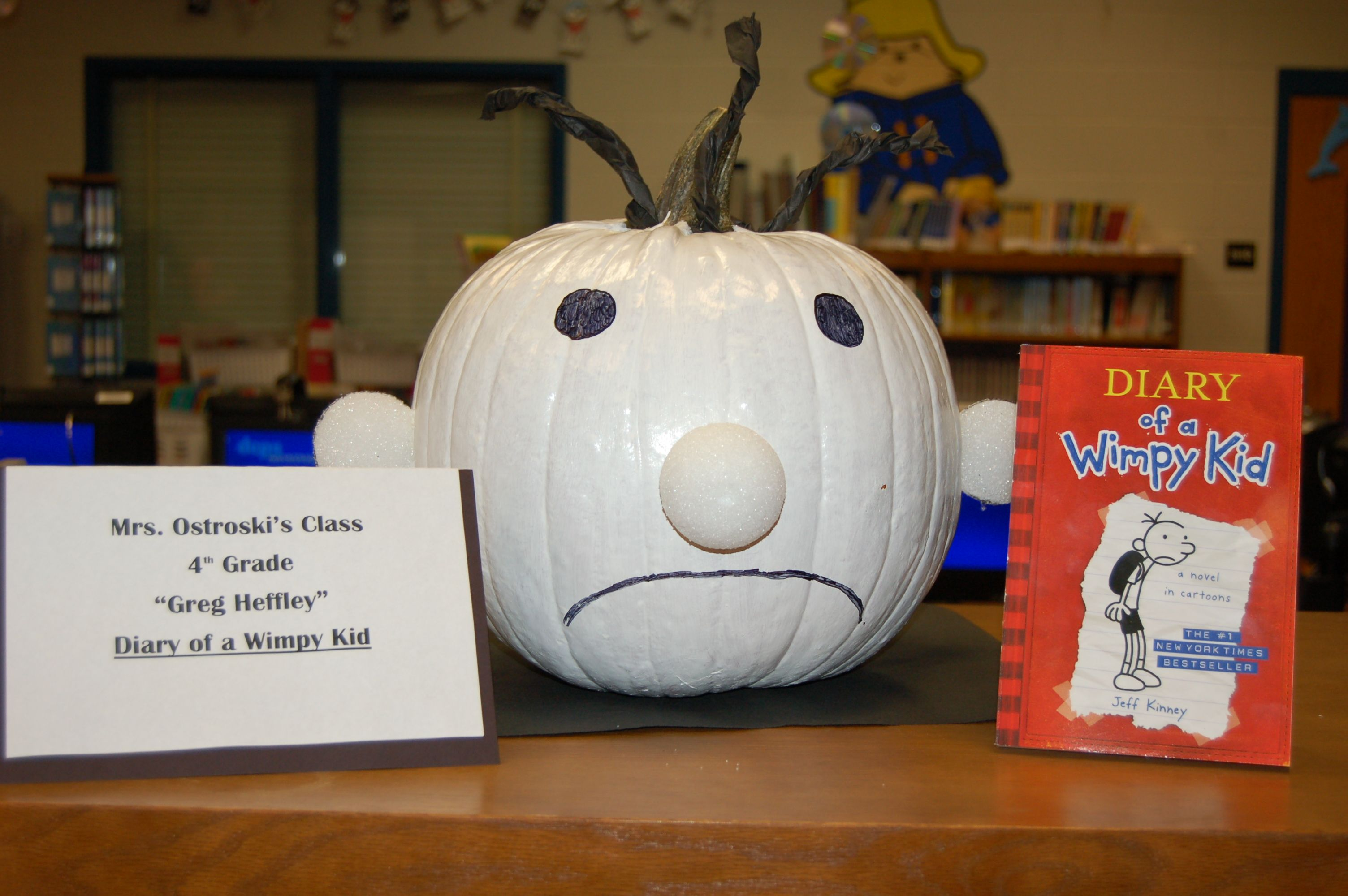 pumpkin character book report Pick a favorite book character decorate a pumpkin to look like that character take a picture of it write a short paragraph telling about the character and book.