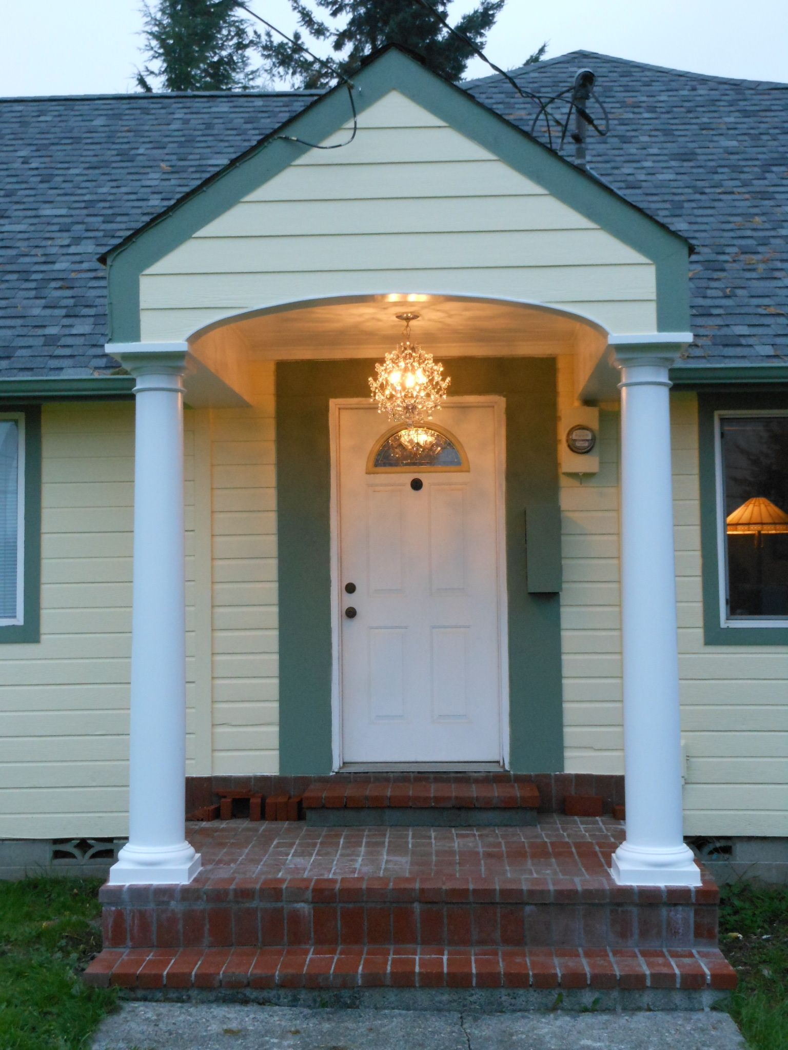 Front Porch remodel with chandelier