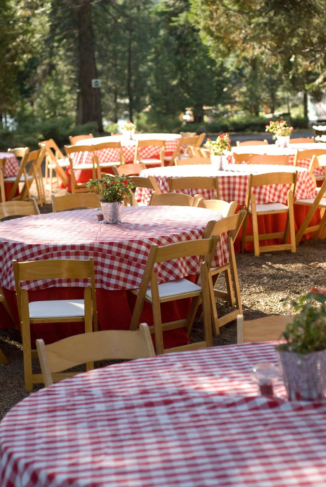 of course the checkered tablecloths my backyard