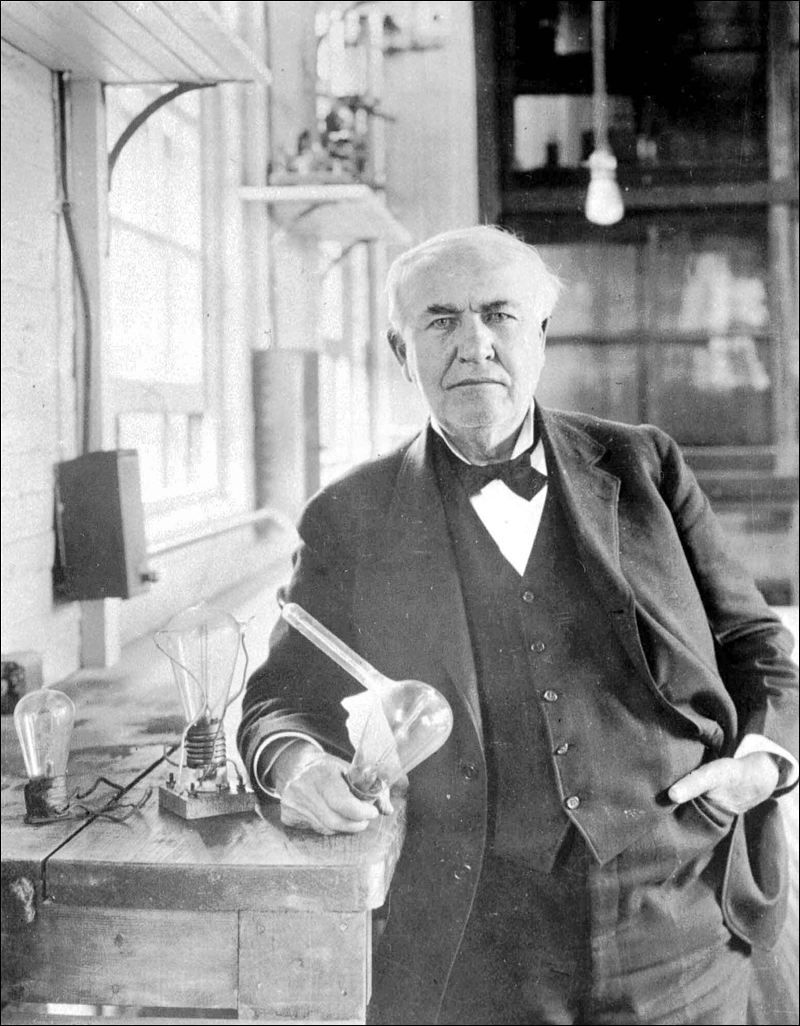 Young thomas edison with a light bulb for The edison