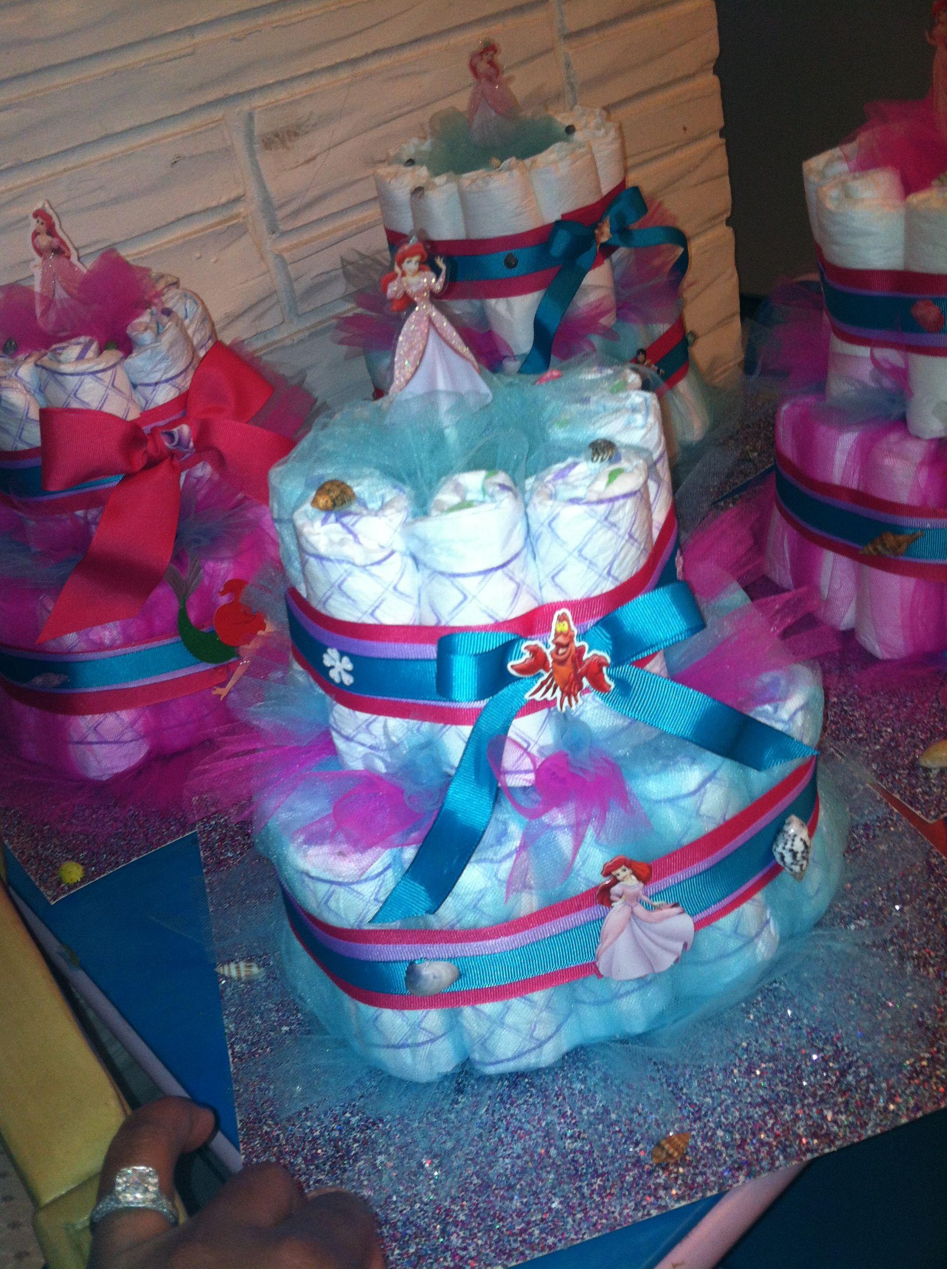 little mermaid diaper cake mermaid theme baby shower pinterest