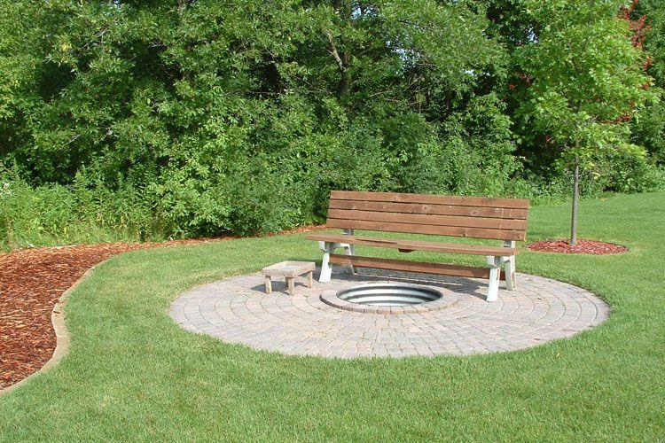 bench near firepit | Cabin Fire Pit Ideas | Pinterest