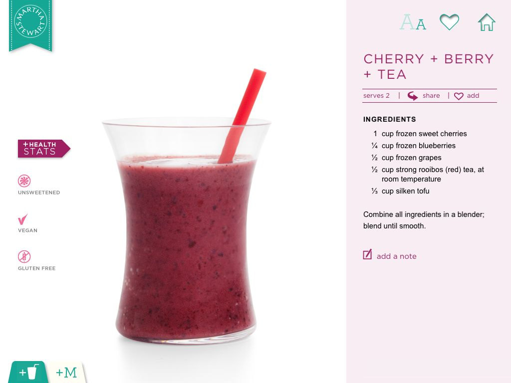 Cherry + Berry + Tea Smoothie | Drinks | Pinterest