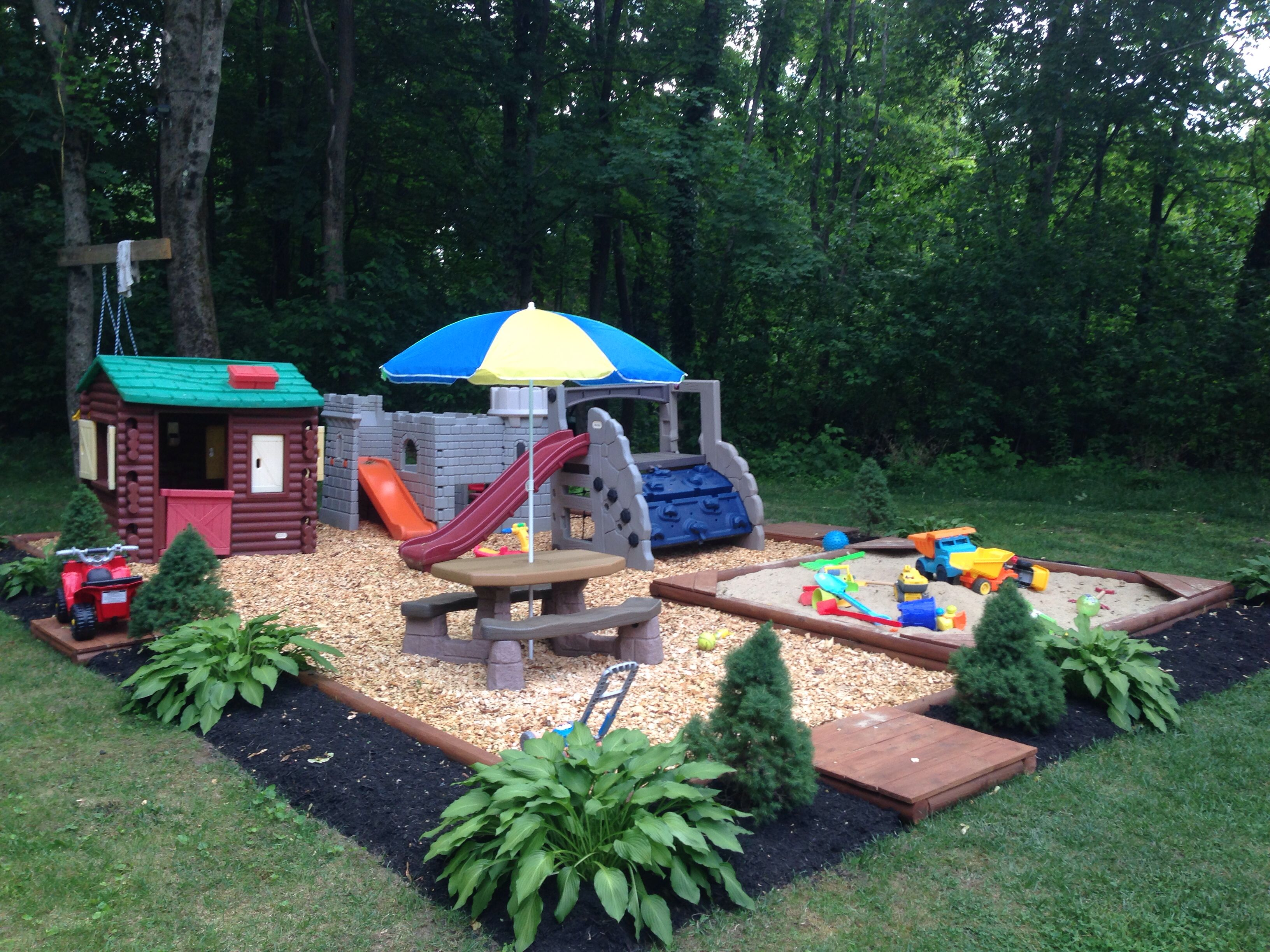 Backyard play area new house projects ideas pinterest for Small backyard ideas for kids