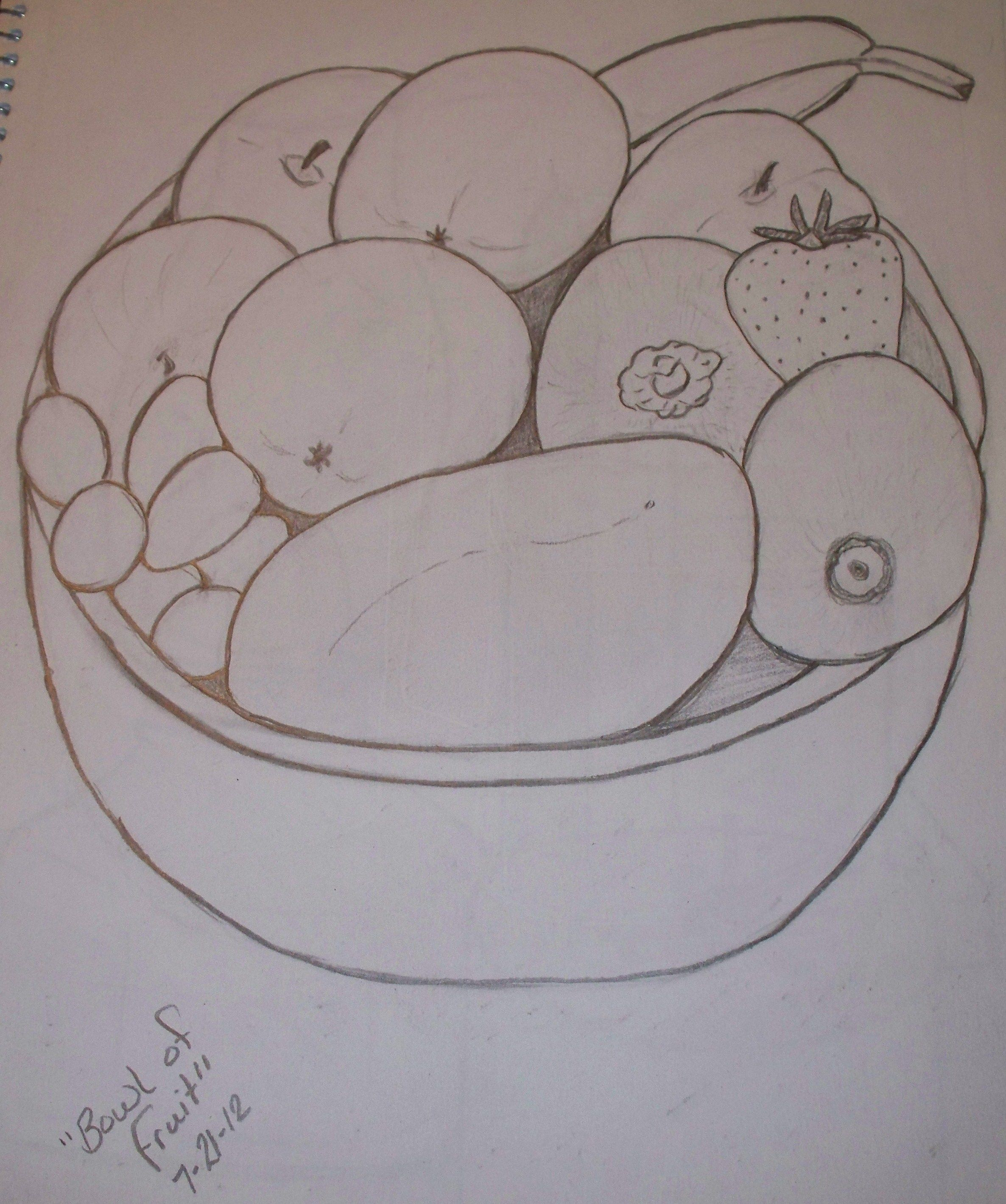 Line Drawing Fruit : Bowl of fruit line drawing things i ve tried