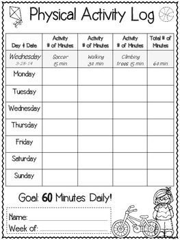 Weekly Student Physical Activity and Nutrition Log | Logs ...
