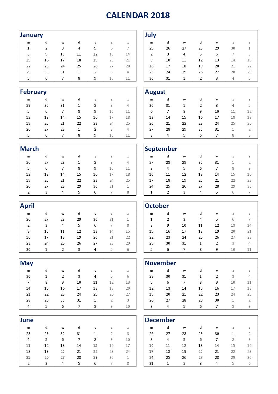 2018 Calendar Excel A3 portrait - Download our free 2018 print ...