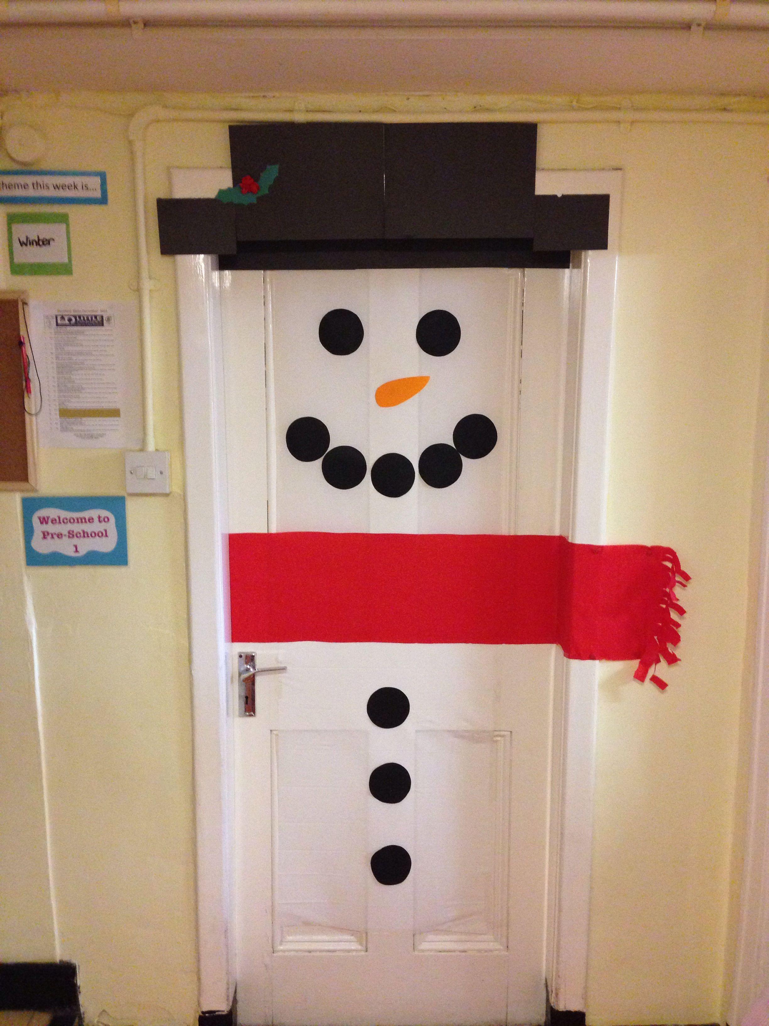 Snowman classroom door | Winter and snow ideas for school ...