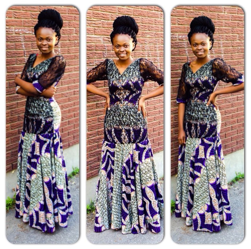 Ankara Dress With Lace African Fashion Traditional