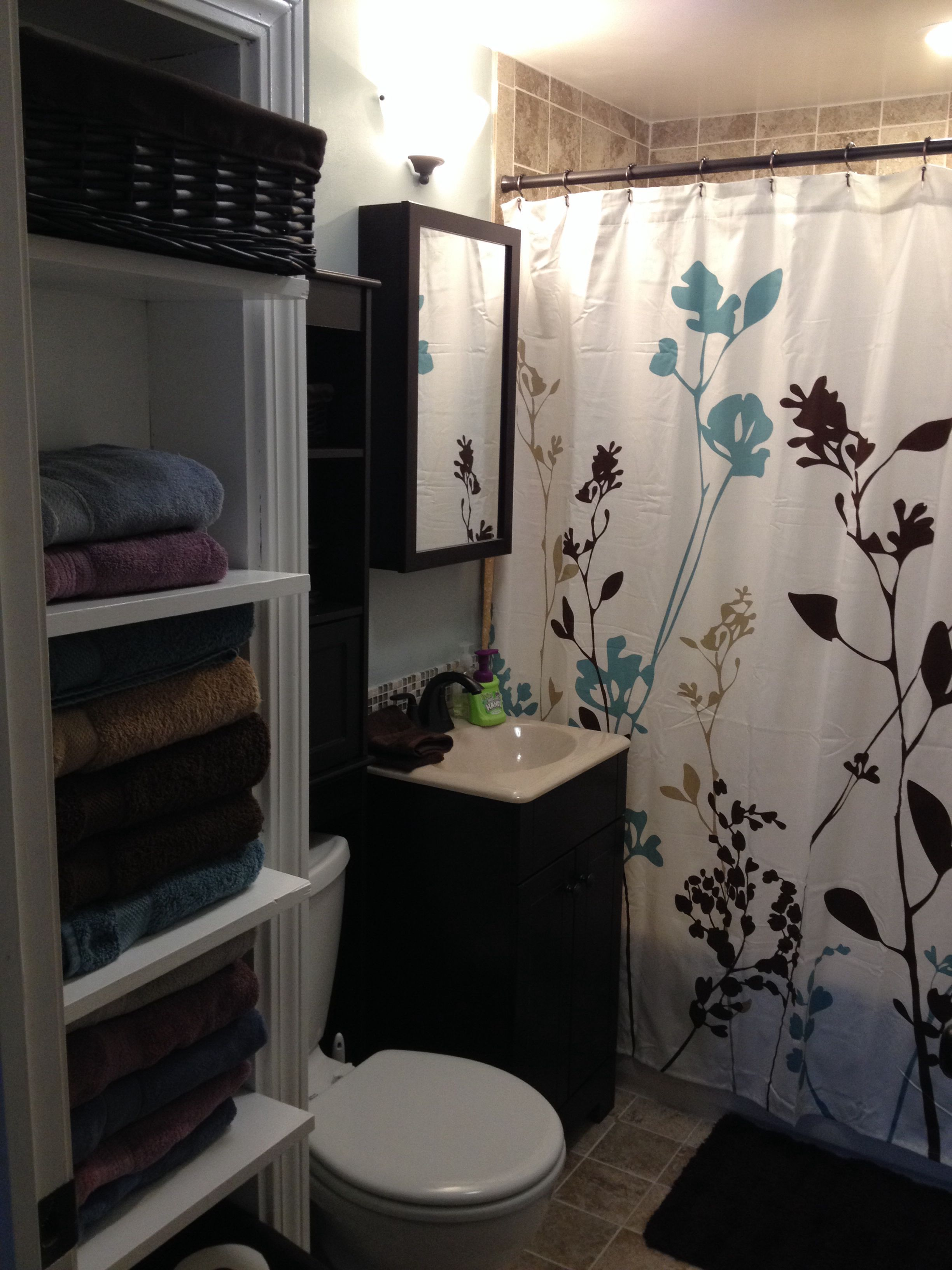 1000 images about bathrooms on pinterest storage ideas for Brown and turquoise bathroom ideas