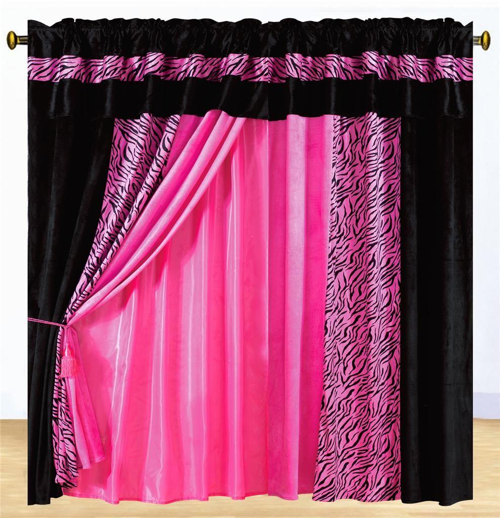 Pink and black zebra curtains girly stuff pinterest