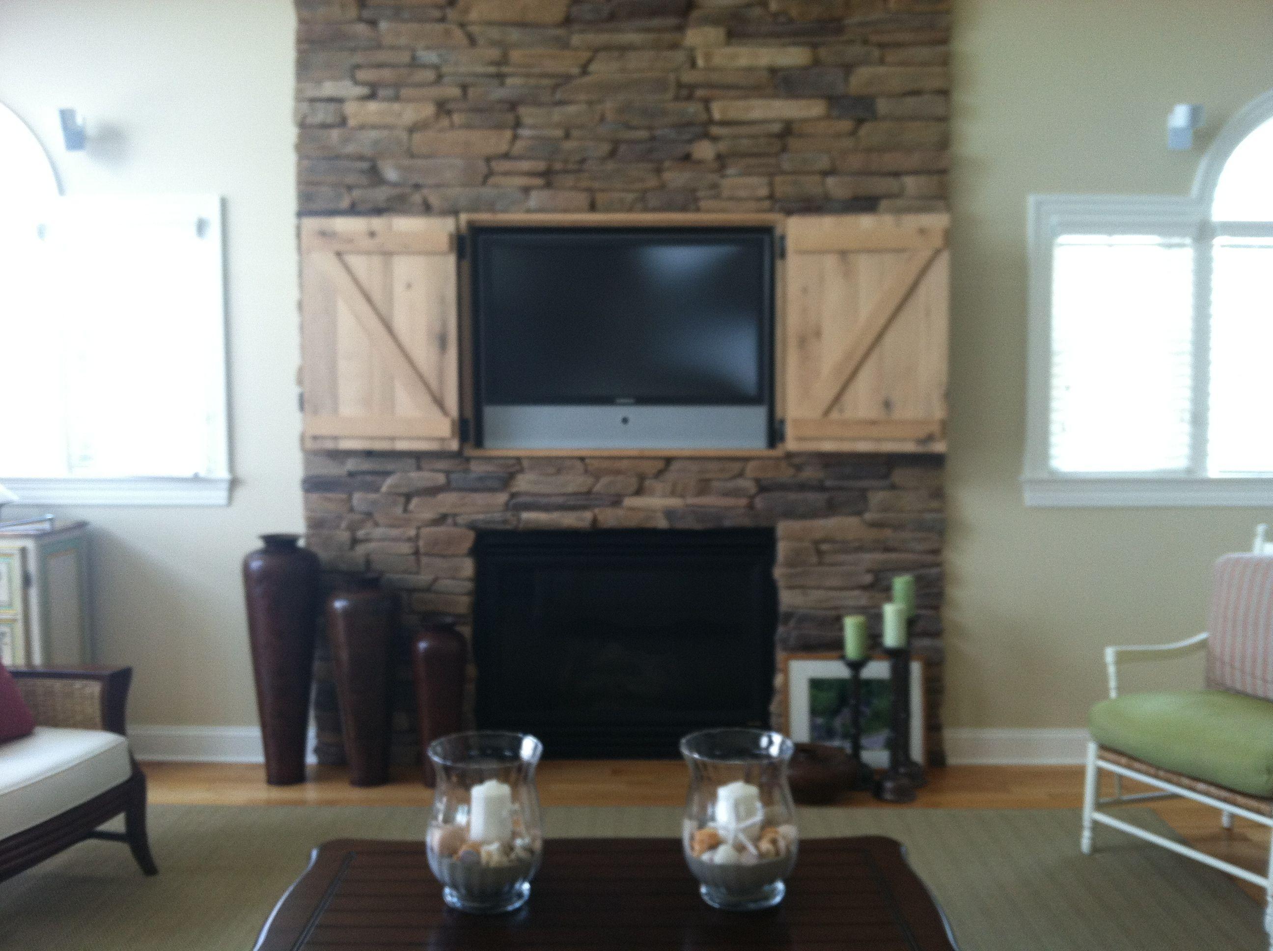 Hidden Tv Over Fireplace Open Doors Heathers Pinterest
