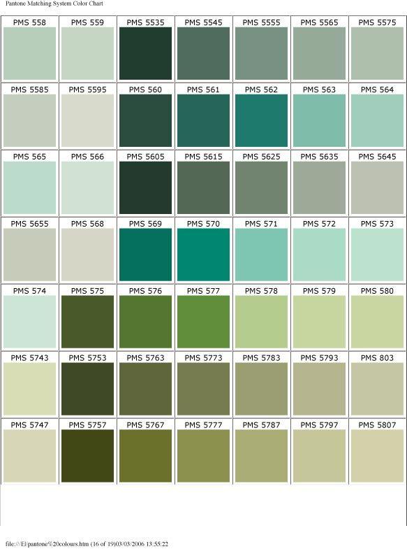 Pantone Color Chart Blue Green Color Palette Pinterest