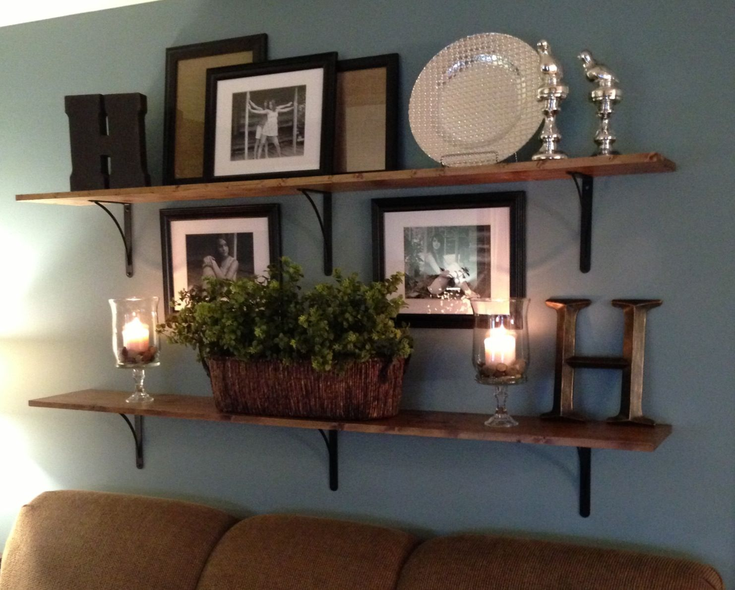 Very Impressive portraiture of Wood shelves in living room For the Home Pinterest with #634530 color and 1482x1189 pixels