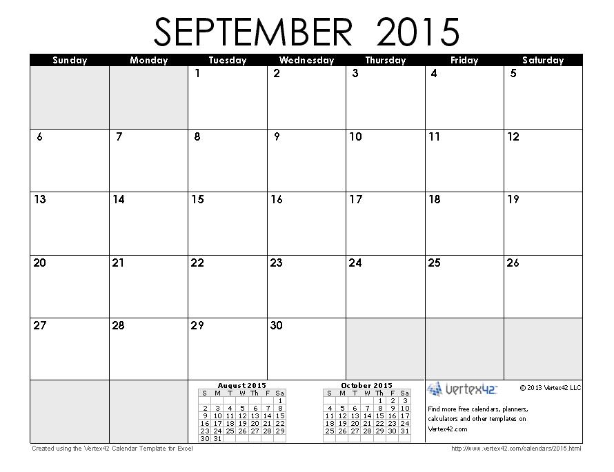 Download a free September 2015 Calendar from Vertex42.com ...