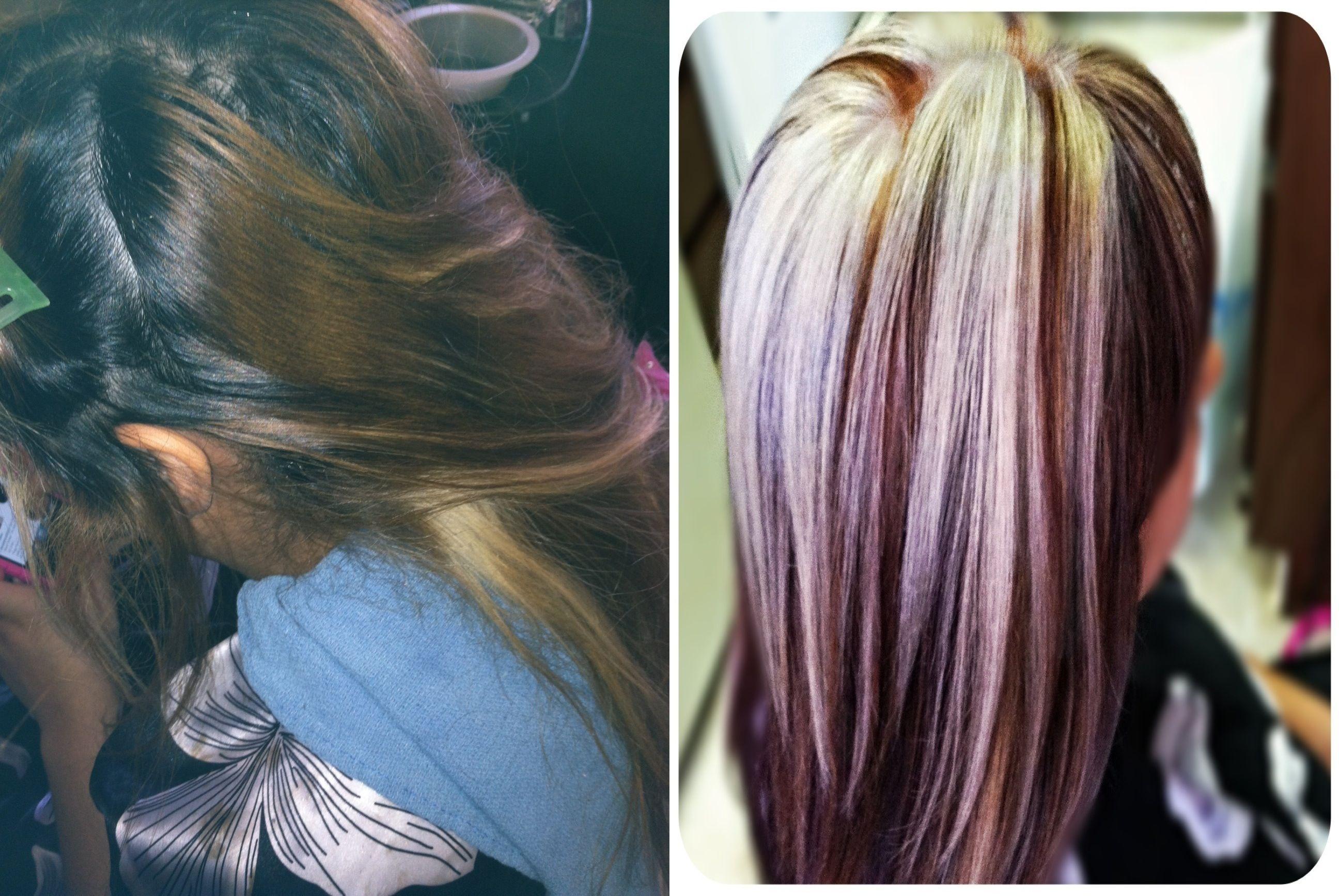Red With Platinum Blonde Highlights | Dark Brown Hairs