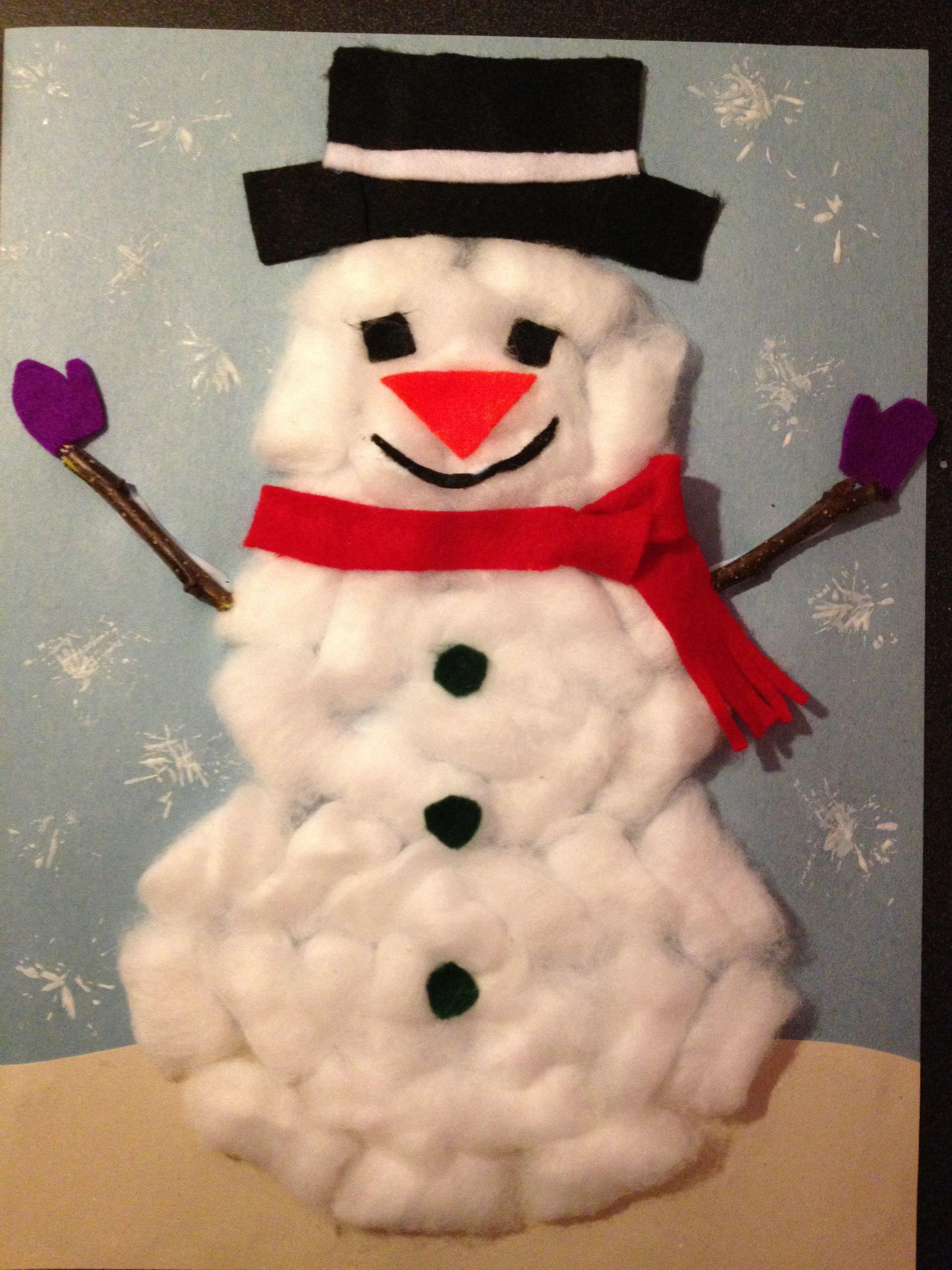 cotton ball snowman | Craft | Pinterest
