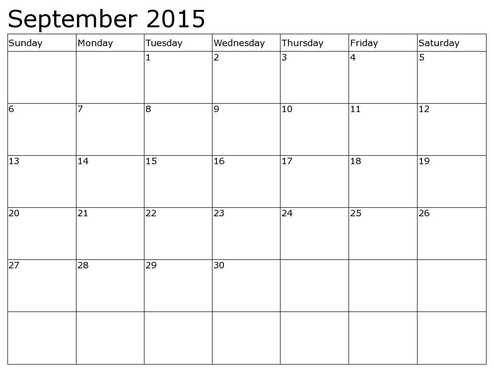 Blank Calendar Page September 2015 – Printable Editable Blank