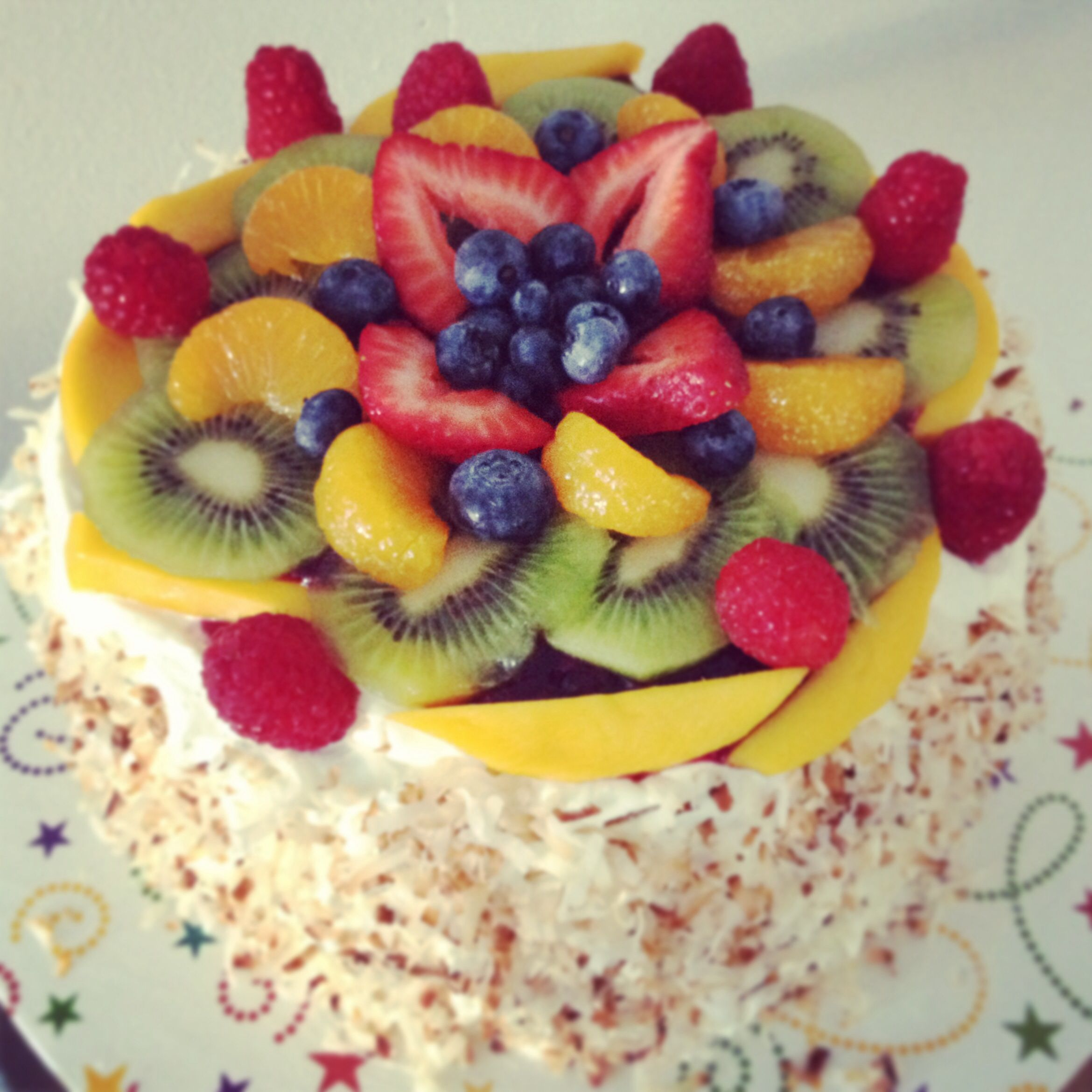 Fruit topped cake with toasted coconut | Yummy&Food | Pinterest