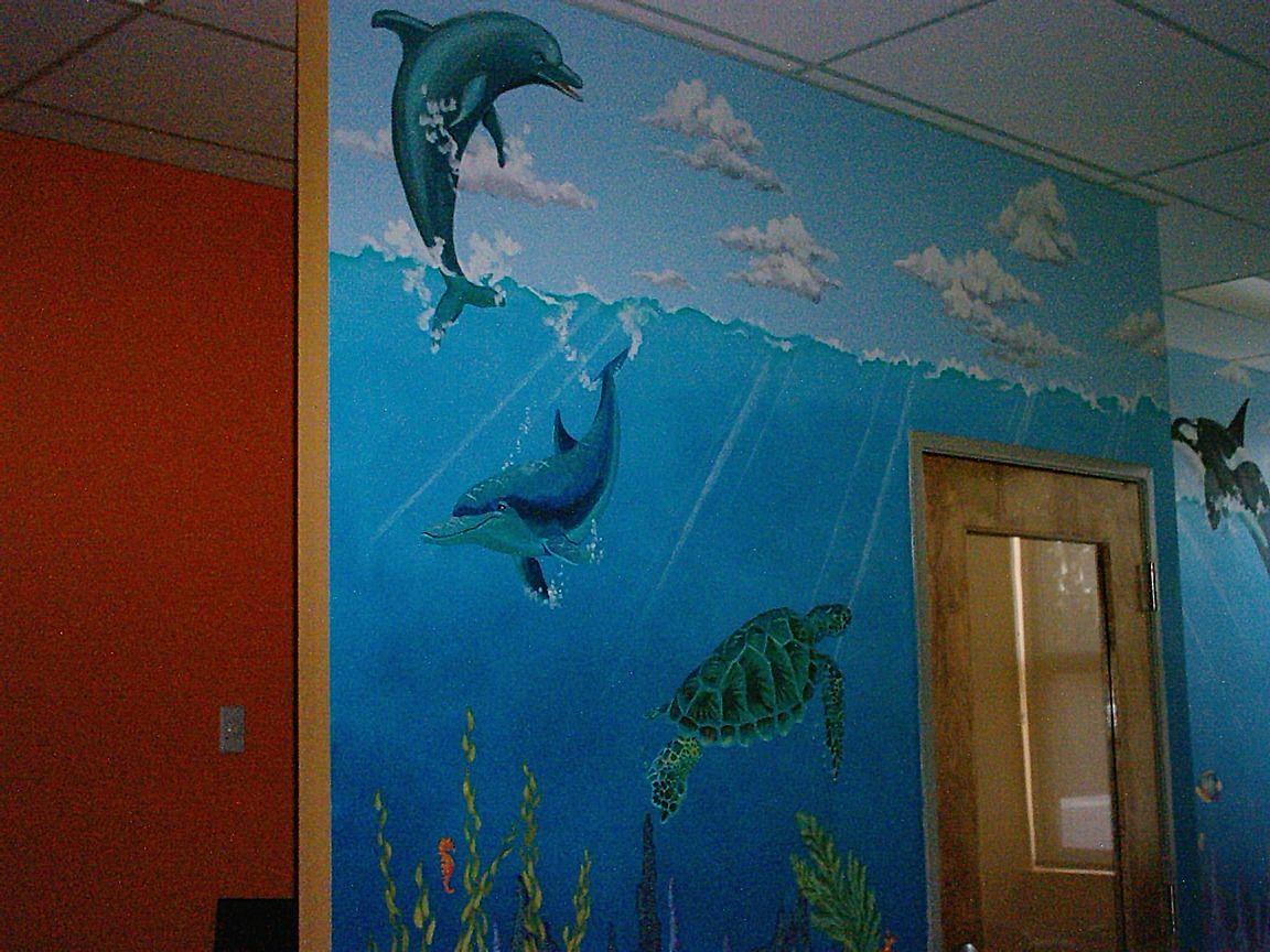 under sea mural wall art ideas pinterest. Black Bedroom Furniture Sets. Home Design Ideas