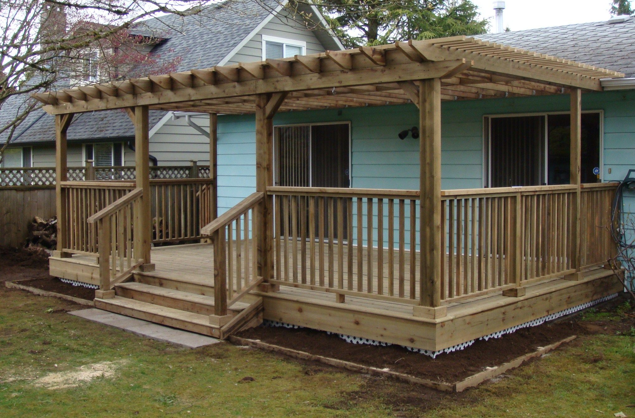 Deck with pergola flowers and yard pinterest for Patio plans and designs
