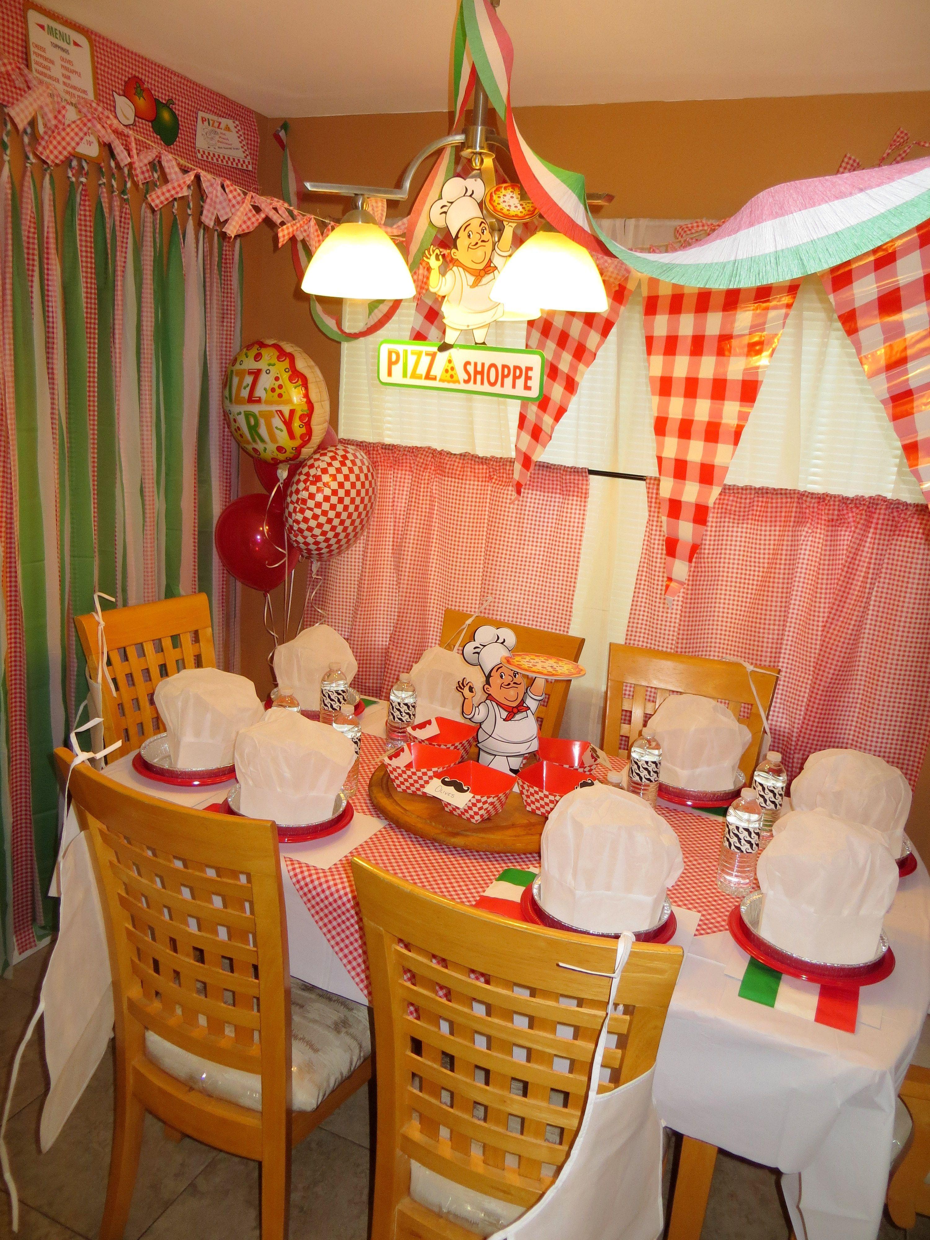 Pizza Party Decoration Ideas Kids Theme Parties Pinterest