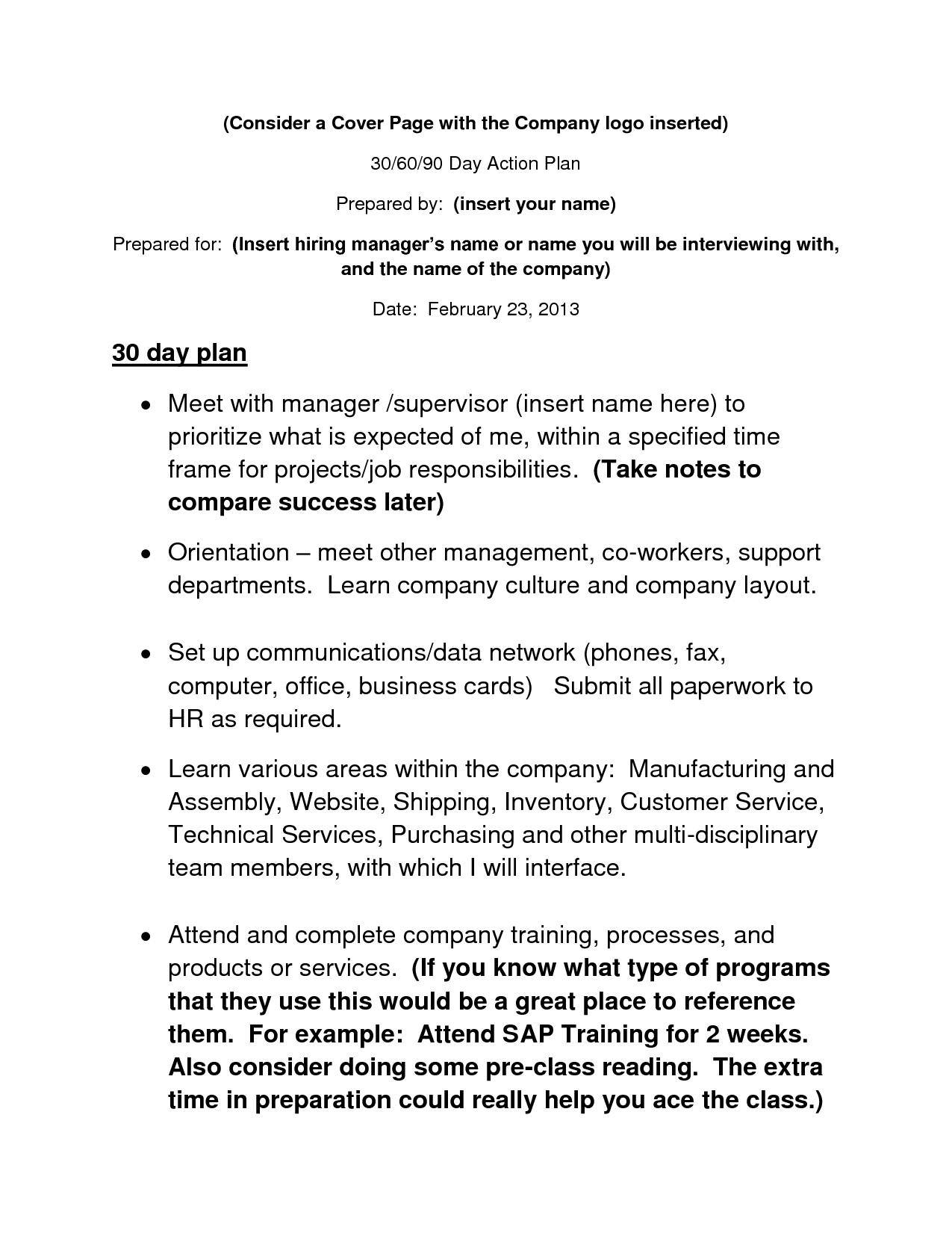 Example Of 30 60 90 Day Plan – Printable Editable Blank