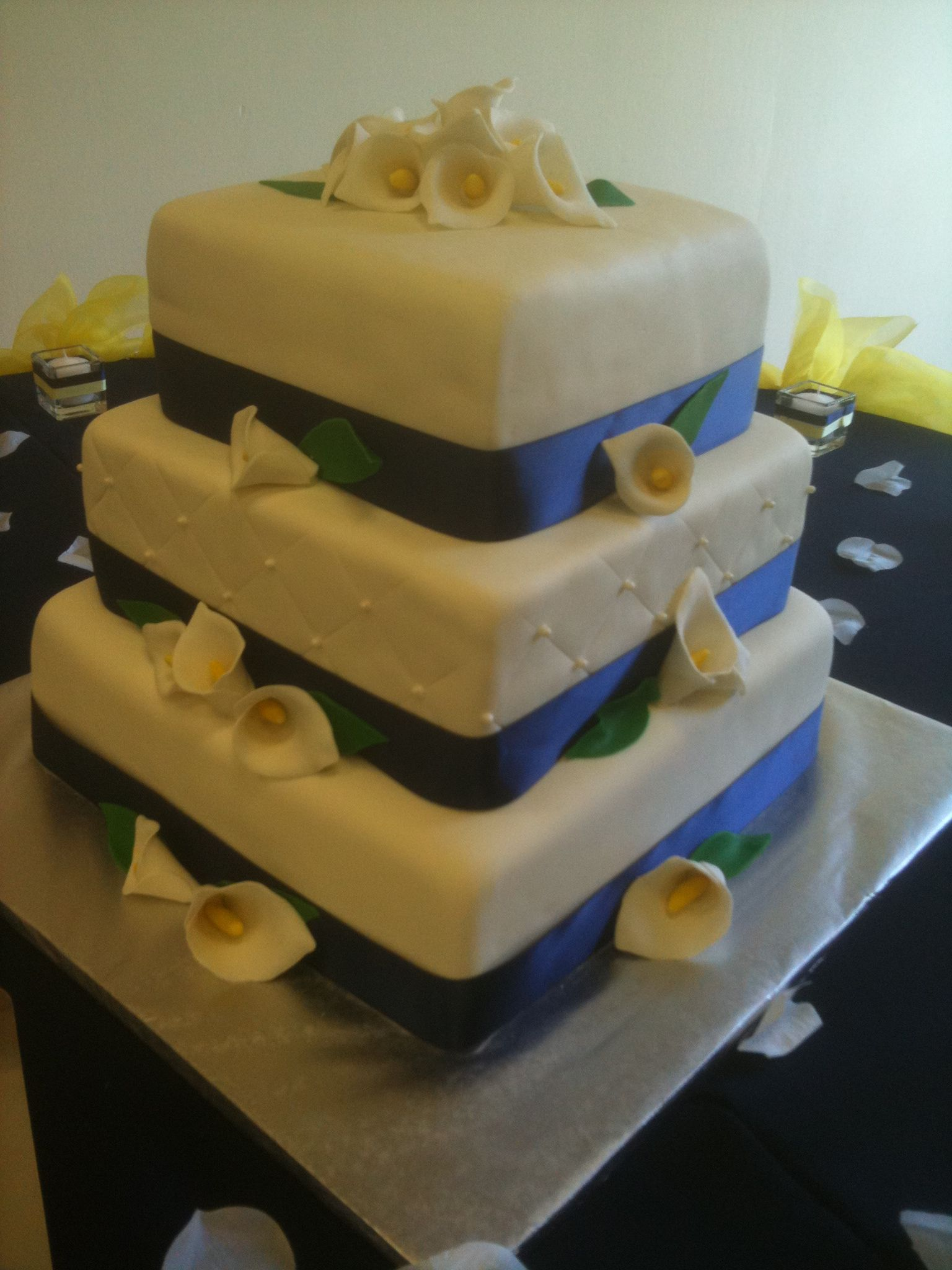 3 tier square fondant wedding cake