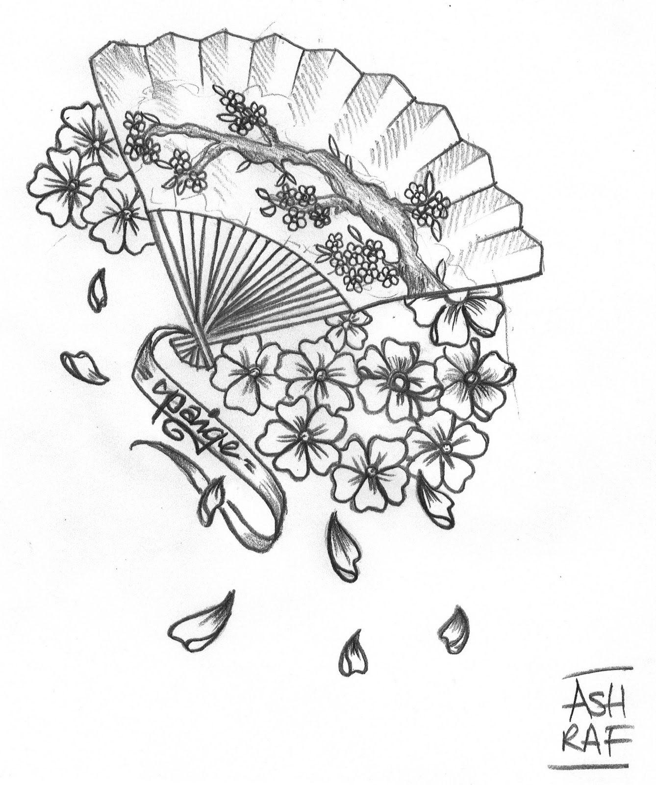 japanese fan tattoo designs sketch coloring page. Black Bedroom Furniture Sets. Home Design Ideas