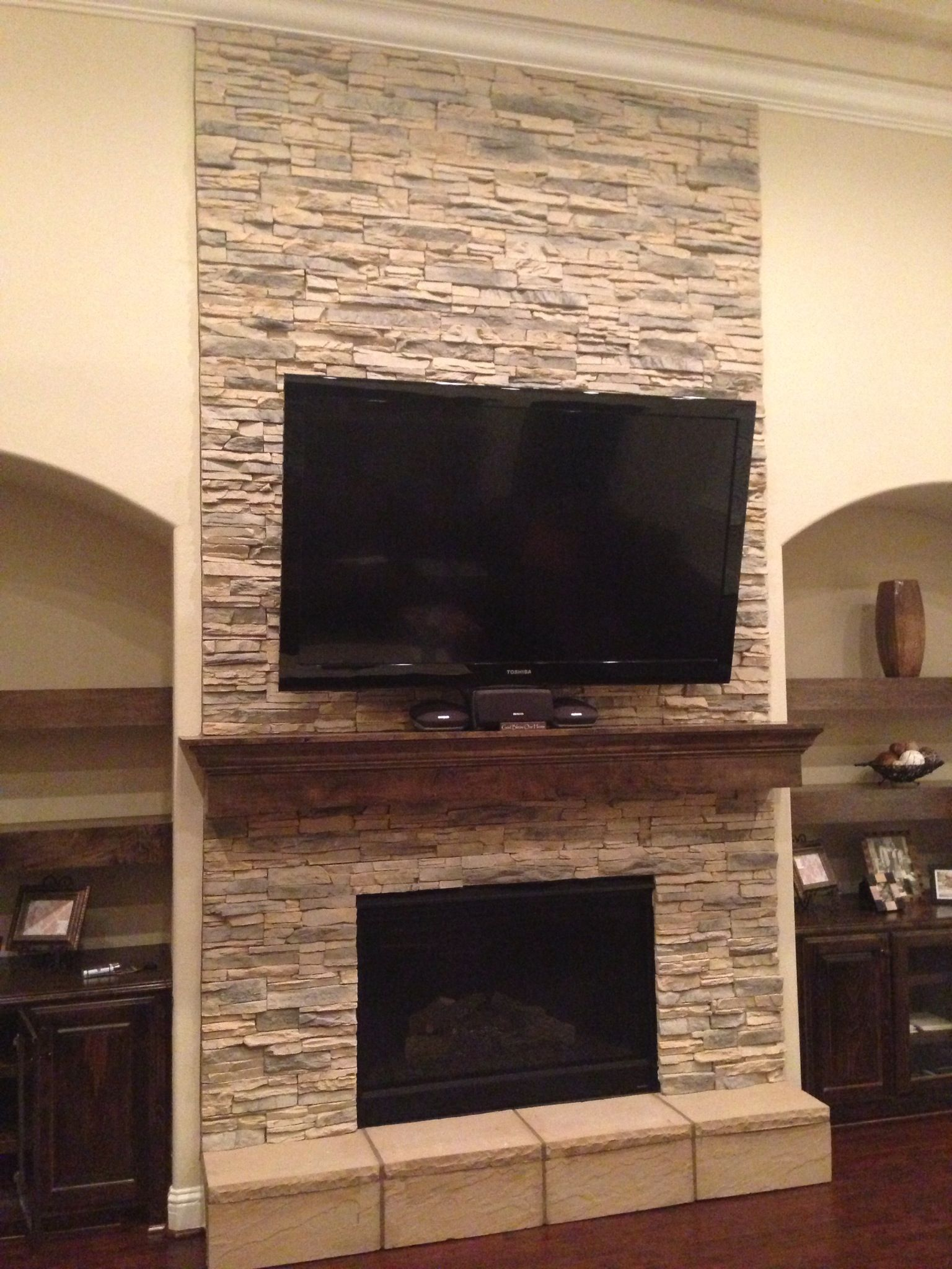 stack stone fireplace interiors design