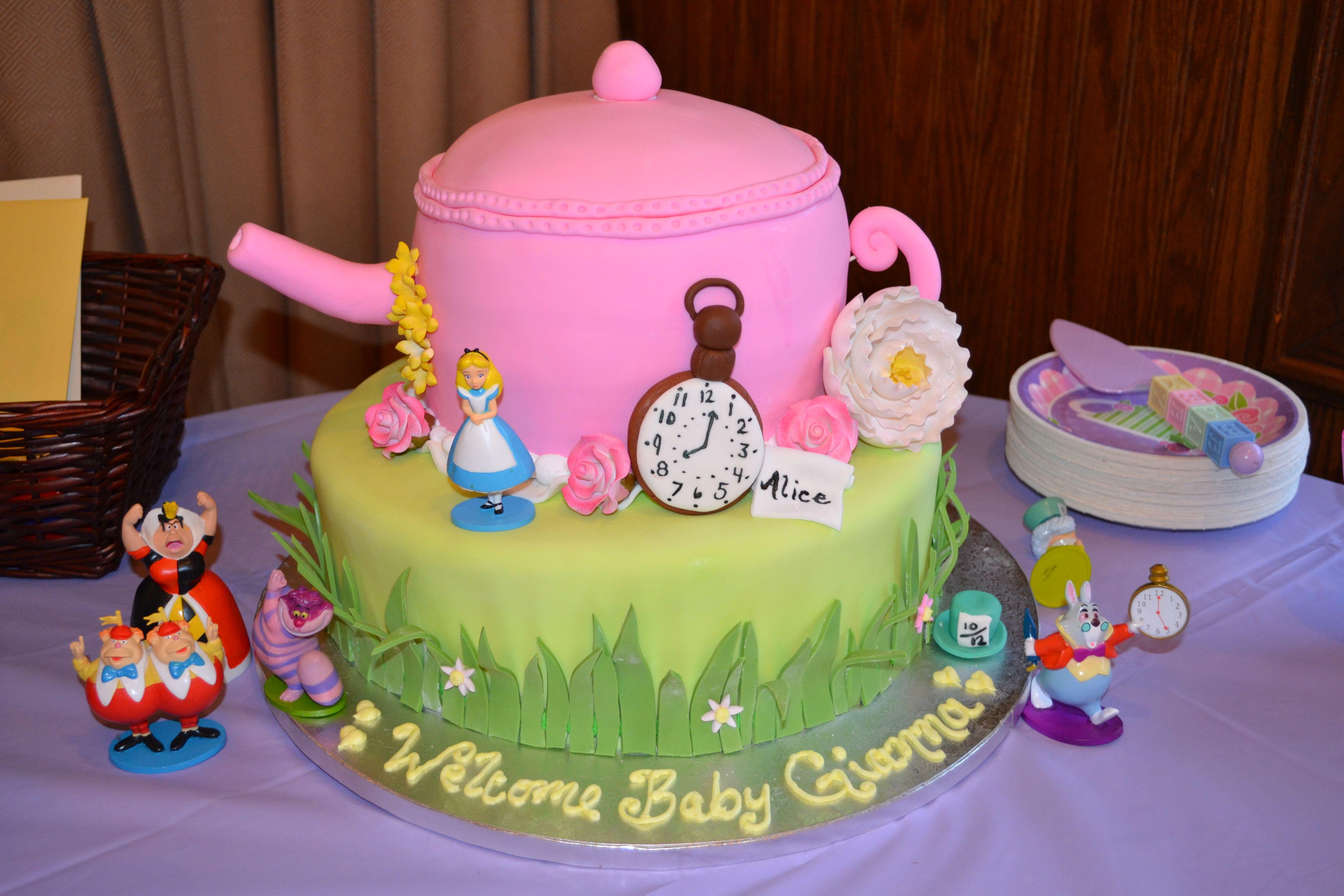 my alice in wonderland baby shower cake baby shower pinterest