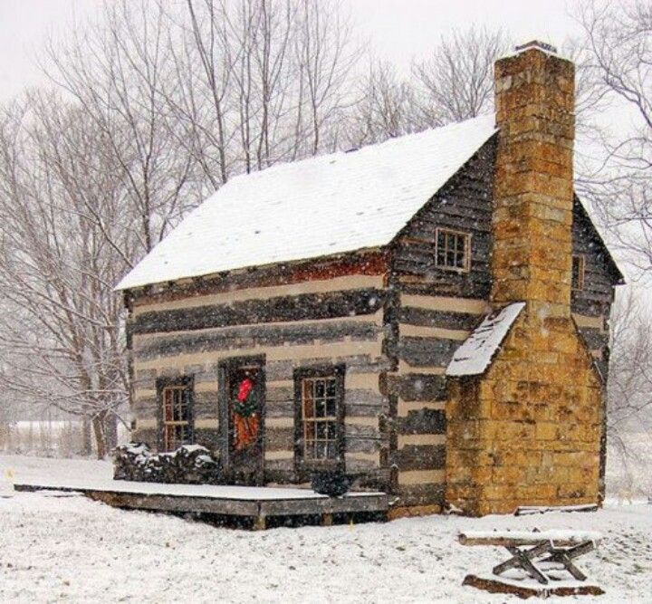 Colonial cottage in winter colonial pinterest for Colonial log homes